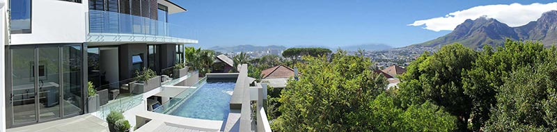 Panoramic View of Cape Town City and Table Mountain from the Pool Area